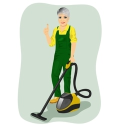Elderly woman posing with vacuum cleaner vector image