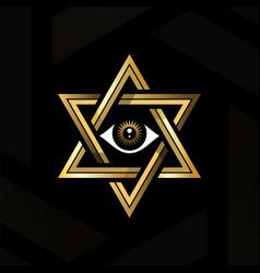 Eye providence in center hexagram vector