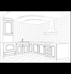 facade kitchen sketch interior vector image