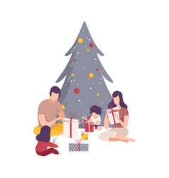family sitting under christmas tree unwrapping vector image