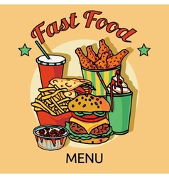 Fast food chain menu poster vector
