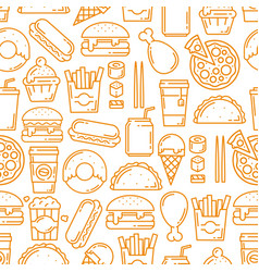 fast food snacks desserts seamless line pattern vector image