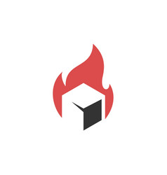 fire flame box cube logo icon vector image