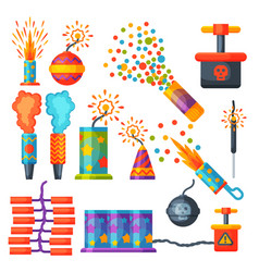 Fireworks pyrotechnics rocket and flapper birthday vector