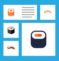 flat icon maki set of maki sashimi salmon rolls vector image