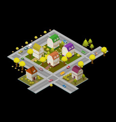 flat street and houses landscape gps navigation vector image