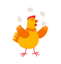 funny hen is juggling by eggs flat vector image