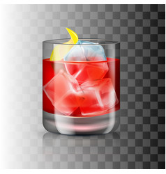 Glass old-fashioned cocktail on transparent vector