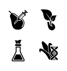 Gmo dna modification simple related icons vector