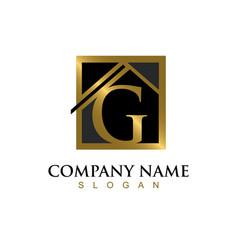 Gold letter g house logo vector