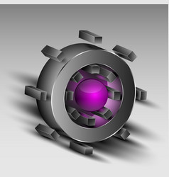 Gray cog with purple core vector