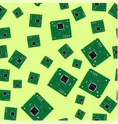 green circuit board seamless pattern vector image