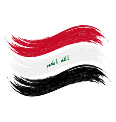 Grunge brush stroke with national flag of iraq vector