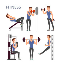 Gym exercises body pump workout set with vector