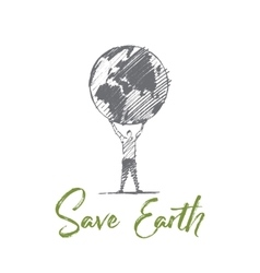 Hand drawn save eatrh concept with lettering vector