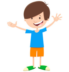 Happy comic boy cartoon character vector
