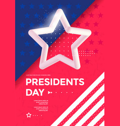 Happy presidents day poster design with 3d star vector
