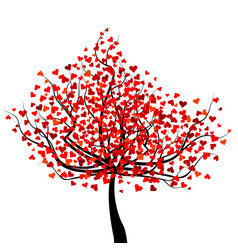 Happy valentines day tree with red heart shape vector