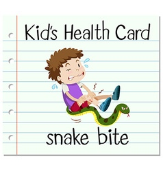 Health card with boy and snake bite vector