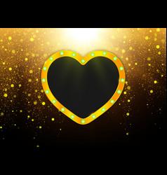 heart shape gold frame design for wedding vector image