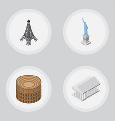 isometric attraction set of paris new york vector image