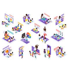 Kindergarten online isometric set vector