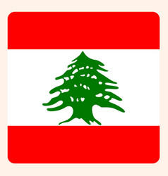 Lebanon square flag button social media vector