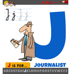 Letter j from alphabet with journalist word vector