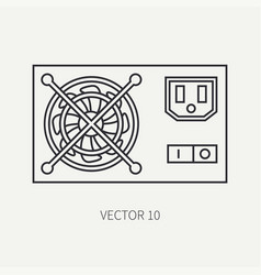 Line flat computer part icon power supply vector