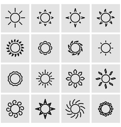Line sun icon set vector