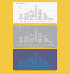 linear trendy cityscape skyline with various parts vector image