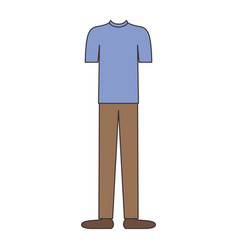 male clothes with t-shirt and brown pants and vector image