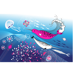 Marine background with narwhals vector