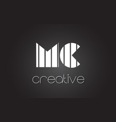 Mc m c letter logo design with white and black vector