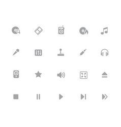 media player icons 32 pixels icons white series vector image
