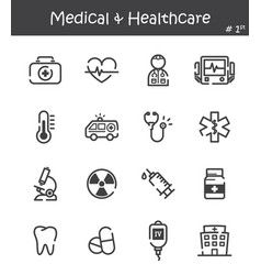 Medical and healthcare line icon set 1 vector