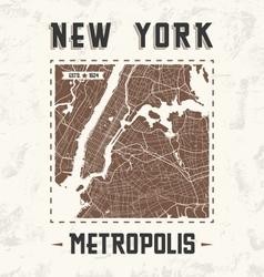New york city streets t shirt design with city map vector