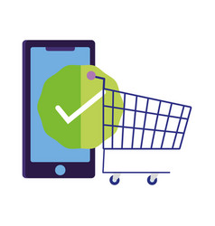 Online payment smartphone shopping cart check vector