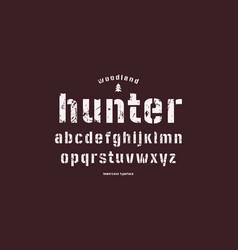 Original lowercase stencil-plate sans serif font vector