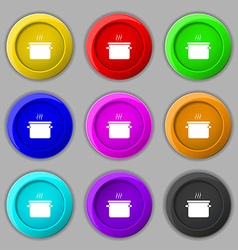 Pan cooking icon sign symbol on nine round vector