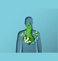Papercut green man body with tree yoga pose vector