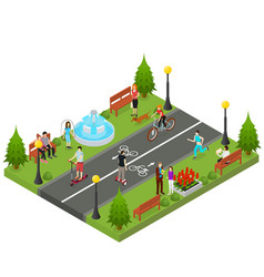 park activity in city isometric view vector image