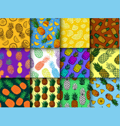 Pineapple seamless pattern ananas vector