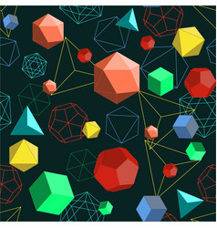 Platonic solids shapes and lines abstract 3d vector