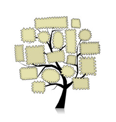 Post stamp tree for your design vector