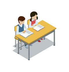Pupils sit at desk isometric icon vector