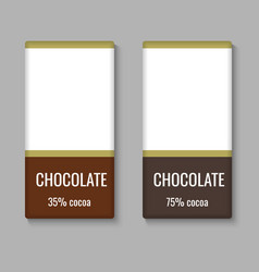 Realistic chocolate bar package template vector