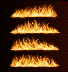 realistic fire flame trails burning tongues vector image