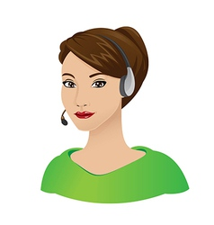 Receptionist woman with headset vector