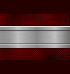 Red perforated background with metal plate vector